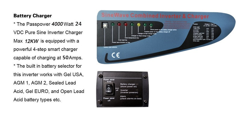 4000 Watt 24 VDC 230VAC Low Frequency Offgrid Single Pure Sine Wave  Inverter Charger 4kw Surge 12kw PS-4000