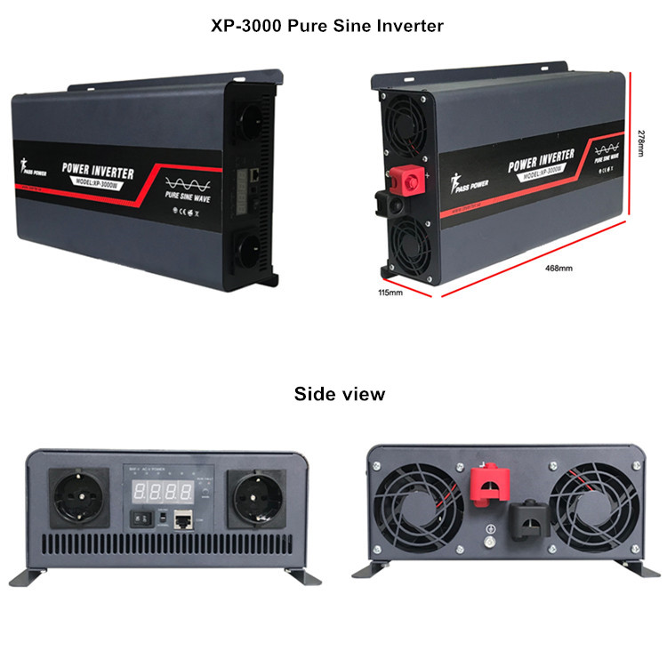 XP-3000 3000 watt 12 volt dc to 110 volt 120 volt ac offgrid power pure sine power inverter black