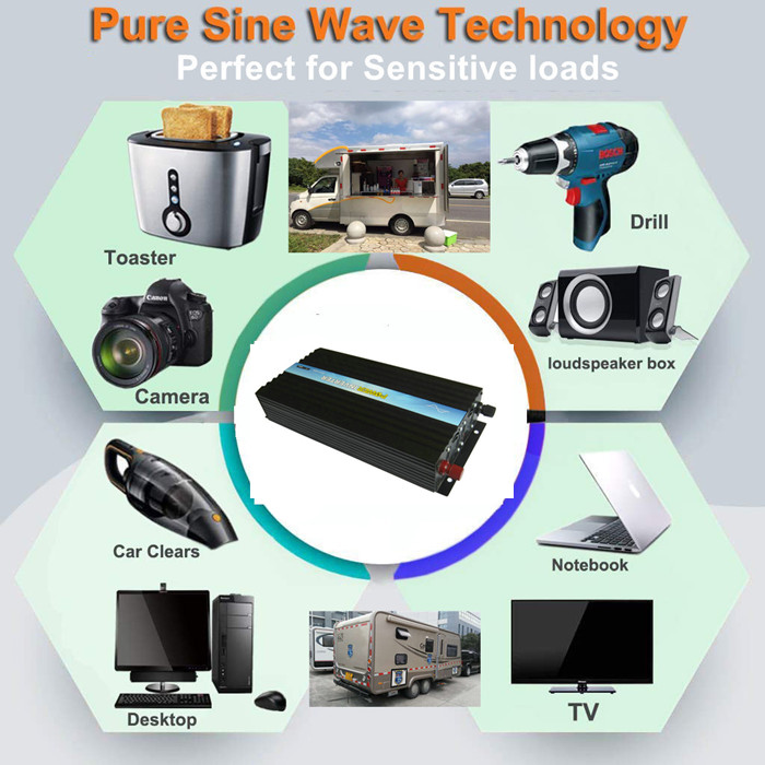 P-2000  High frequency Pure Sine Wave Power Inverter 1000w 12v DC to  220v AC