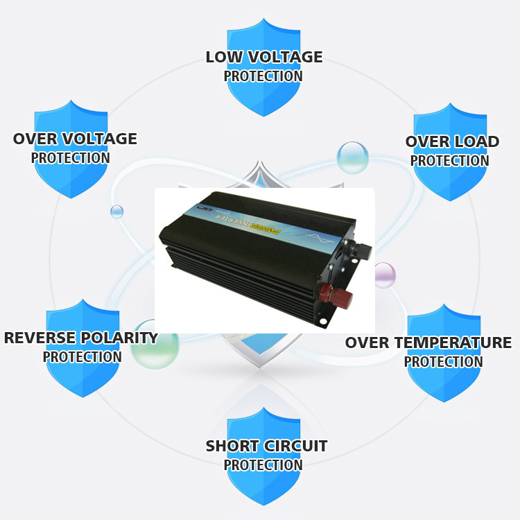 P-1000 High frequency Pure Sine Wave Power Inverter 1000w 24v DC to 110v 120v AC