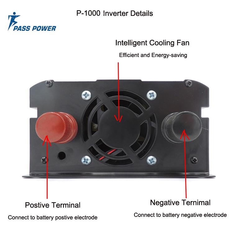 P-1000 High frequency Pure Sine Wave Power Inverter 1000w 24v DC to 220v 230v AC